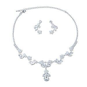 Tear Drop Necklace Dangle Earrings Set